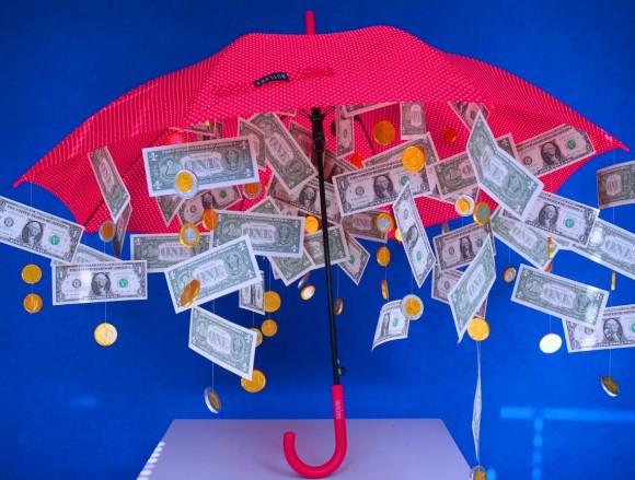 денежный зонтик с монетками