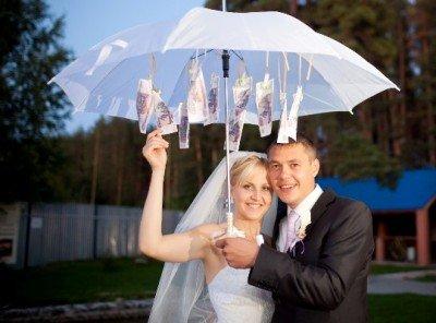 зонт с купюрами на свадьбу