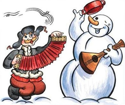 Мужик и снеговик поют частушки под гармонь