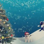 пес в новогодней шапке