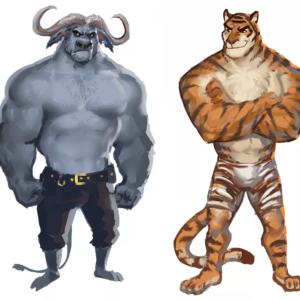 сценка-экспромт без подготовки на новый год - Тигр и Бык